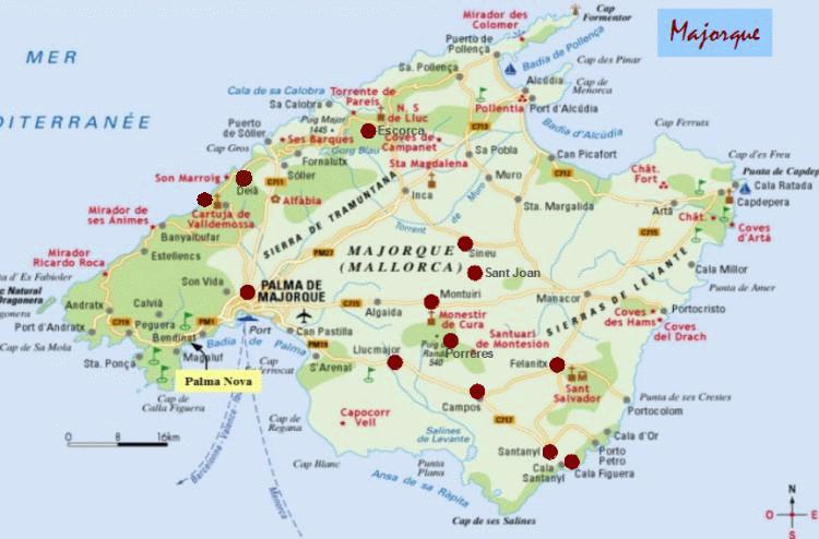 Majorque Baleares Espagne Carte.Cadrans Iles Baleares Centre De Majorque Espagne