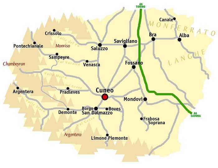 Carte province de Cuneo